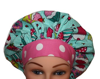 Scrub Cap Surgical Hat Tie Back Bouffant Style Cupcakes Blue Pink Yellow Green Dots / - 2nd Item Ships FREE