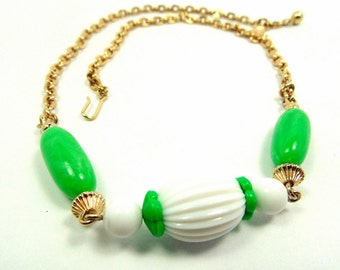 Vintage Avon Green and White Bead Necklace