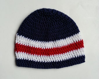 Striped Navy Blue, Red And White Baby Boy Crochet Hat.