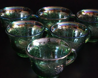 Vintage, Set of Six Green Carnival Glass Punch Cups