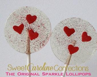 Red Heart Lollipops, Red Sparkle Lollipops, Lollipops, Wedding Favors, Candy, Lollipops, Sweet Caroline Confections-Set of Six
