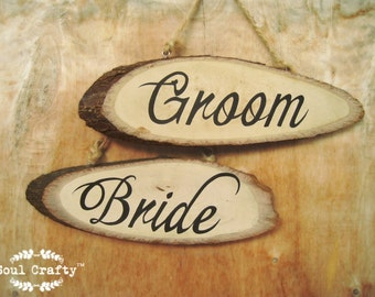 Bride Groom Wood Slice Signs Chair Signs Wedding Chair Decor Photo Props Wedding Sign