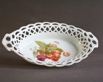vintage french ceramic basket dish