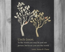 UNCLE Gift Dad Gift Personalized Print CUSTOM Art To Us You Are The World Family Tree masculine Niece Nephew Sister, Mom, Aunt, Cousin