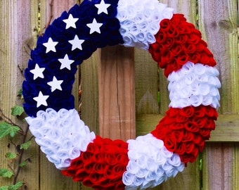 Patriotic Wreath, Felt Wreath, Fourth of July Wreath, Flag Wreath, Memorial Day Wreath, Military Wreath, Veteran's Day Wreath