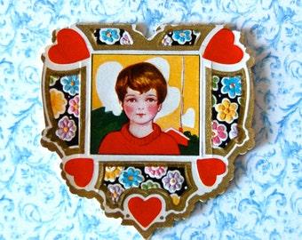 Vintage Die Cut Heart Valentine Card