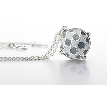 Silver pendant, enamel pendant, hanmade jewelry, enamel jewelry