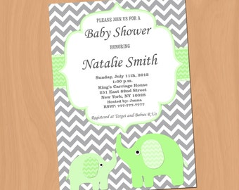 Baby Shower Invitations Elephant Baby Shower Invitation Baby Shower Invites green (2v) - Free Thank You Card - Instant Download