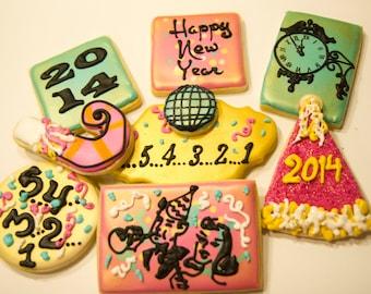 One dozen retro New Year cookies