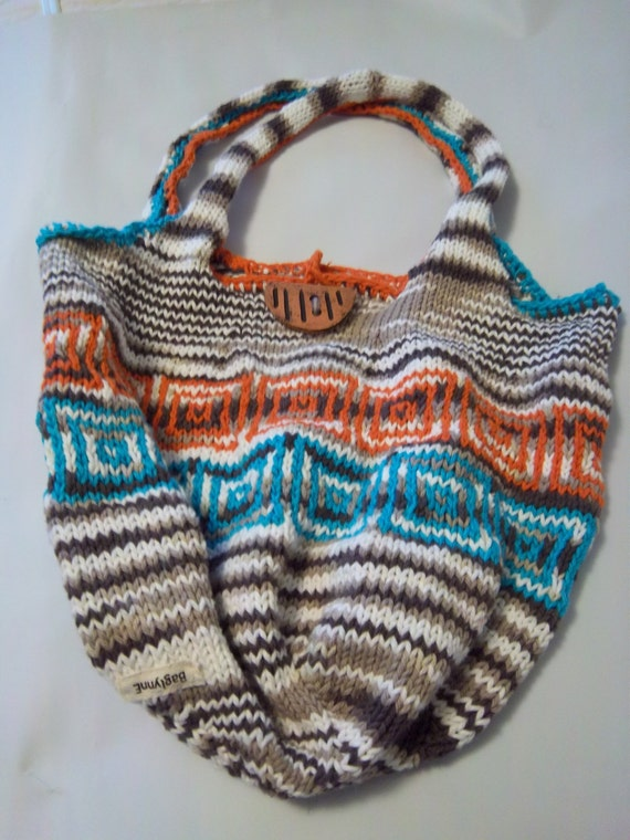 Items similar to Hand-knitted cotton yarn HOBO bag SOUTHWESTERN colors, brown...