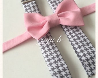 Bow tie and suspenders set, gray houndstooth suspenders and houndstooth bow tie, pink bow tie, pink and gray suspender set, gray suspenders
