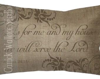 Burlap Pillow 100% Burlap Bible Quote Inspirational Religious Lumbar Throw Pillow Cover