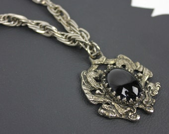 Gothic Noir Black and Silver Vintage Necklace