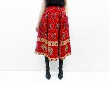 Last one! Bird Print Skirt, Paisley Skirt, African Skirt, Red Skirt, Full Midi Skirt, Summer Skirt, African Clothing, Flared Midi Skirt