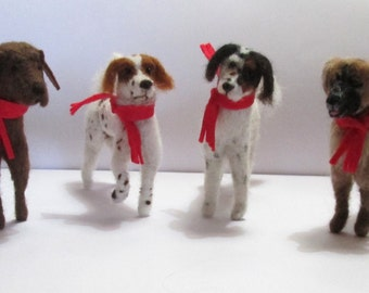 Pet dog sculpture, detailed bespoke needle felted dog ornament. Wool puppy for dog owners