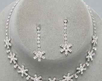 Snowflake Drop Clear Rhinestone & Earrings Set -