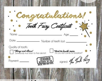 Tooth Fairy Certificate Pdf Instant Download Diy
