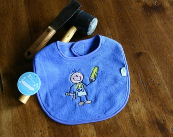 Royal Blue Embroidered Handyman Baby Bib - Waterproof and PVC free