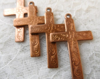 "Raw copper coated solid etched crosses,1&3/8th""x7/8th"",4pcs-CHM215"