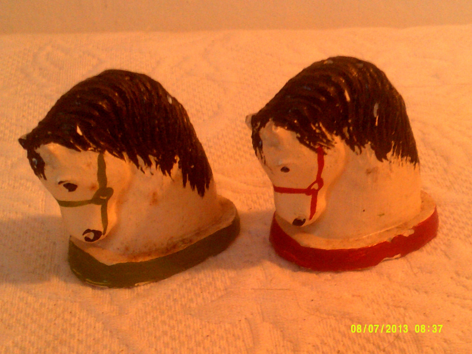 Vintage 1940s Chalkware Horse Head Salt And Pepper Shakers