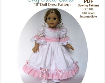 Pixie Faire My Angie Girl My Sweet Clara Dress Doll Clothes Pattern for 18 inch American Girl Dolls - PDF