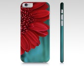 Red and Teal Floral Plastic iPhone Case, Red & Teal Cell Phone Cover, iPhone 6 and 7 cell phone case, Samsung Galaxy S6 S7 edge device case