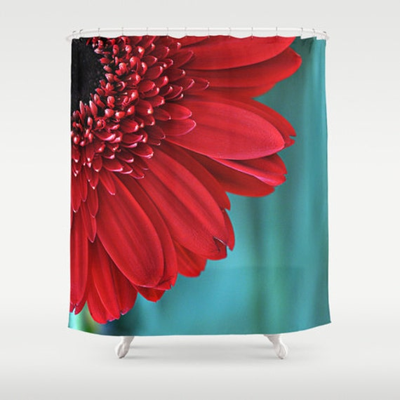 Red Flower Shower Curtain Red And Teal Floral By