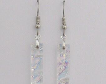 Fused dichroic glass earrings, Dichroic glass jewelry, Clear dichroic glass earrings, Fused glass dangle earrings, EA113