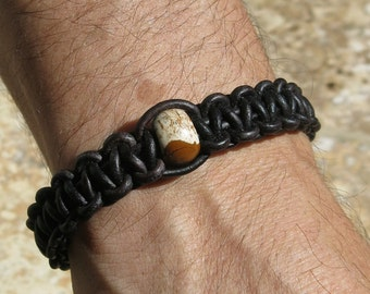Mens Picture Jasper Braided Leather Bracelet. Harmony, Tranquility, Support during Stress Adjustable  Wooden OM Button