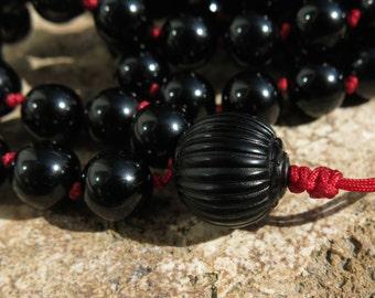 Black Tourmaline and Jet  Mala beads. 108 beads, hand knotted mala. Balance, Protection and Transformation. 108 Mala, Japa Mala