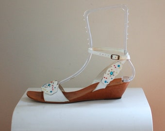White Jeweled Sandals/ Nine West Ankle Strap Shoes/ Women's SIze 8