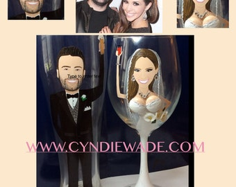 Caricature Painted Bride and Groom Wedding Glass Set 3-D Boob