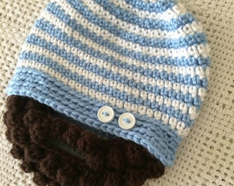 Baby Baby Blue, White Bearded Beanie Hat - 0 to 3 Months, 3 to 6 Months, 6 to 12 Months