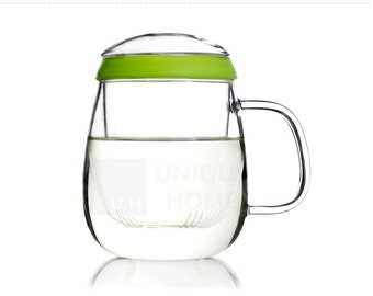 UNIHOM Valentine Glass Infuser Tea Mug with Steeper Silicone Ring 600ml / 20.2oz - Lead Free, Thermal insulation, Heat-resistent
