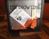 "IT'S SHOWTIME Box, 12x12"", Shadow Box, Ticket Stub Boxes, Movie Tix, Broadway Shows, Nightlife, Memory Box, Actress Gift, Actor Gift"