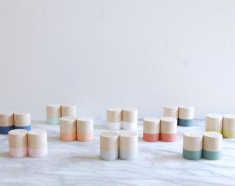 Mini Wood Salt and Pepper Shaker Set | Choose your color | Wedding Table Salt and Pepper | Wedding Favors | Kitchen Decor | Hostess Gift