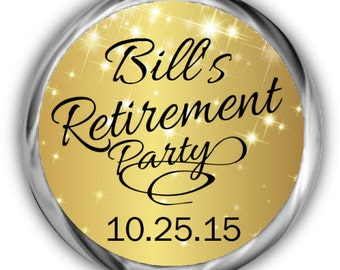 Gold Retirement Stickers -  Personalized Retirement Candy Labels - Sparkly Favor Stickers