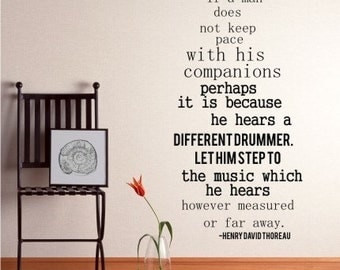 Different Drummer Wall Decals Quote Henry David Thoreau - Vinyl Wall Words
