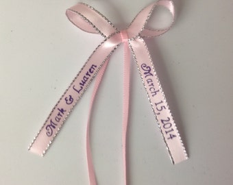 """50 Made Bows Personalized Ribbon 3/8"""" Satin Silver Edge Party Wedding Baby Shower Favor"""
