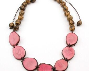 Bib Adjustable Pink Tagua- Natural Bonbona Necklaces.
