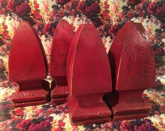 Four Vintage Red Wood Finials Decorative Sculptural