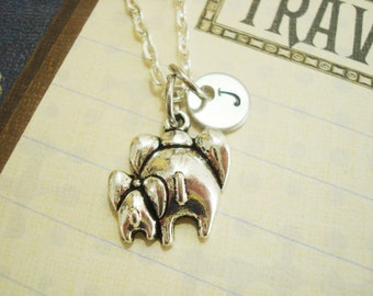 MOTHER and BABY ELEPHANT necklace  - personalized with initial charm - choice of chains