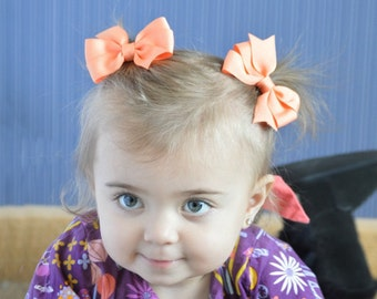 Peach Pigtail Bows, Peach Bows, Peach Bow Clips, Solid Peach Bows, Peach Bow Hair Clips, Peach Hair Clips, Toddler Hair Bows, Peach Bows