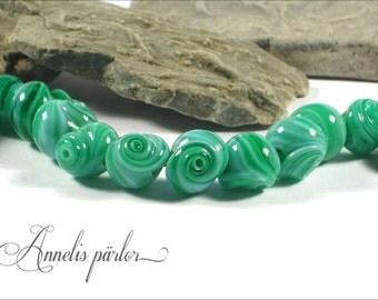 SRA handmade lampwork beads, glass seashells, Artisan lampwork beads, Swedish glass crafts