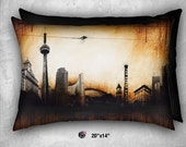 Cool Contemporary and Luxurious - Toronto Skyline - Velveteen Pillow - Landscape - 26x20 - 20x14 inch