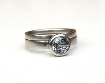 Aquamarine engagement ring set, aquamarine palladium ring set