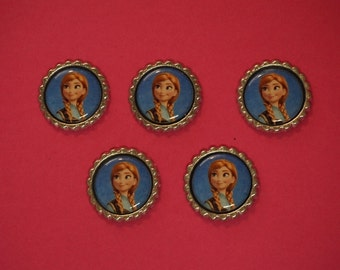 Disney Frozen Anna Finished Flattened Bottle Caps A1