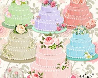 Flower Cakes Roses Transparent Clipart Digital Images PNG Instant Download