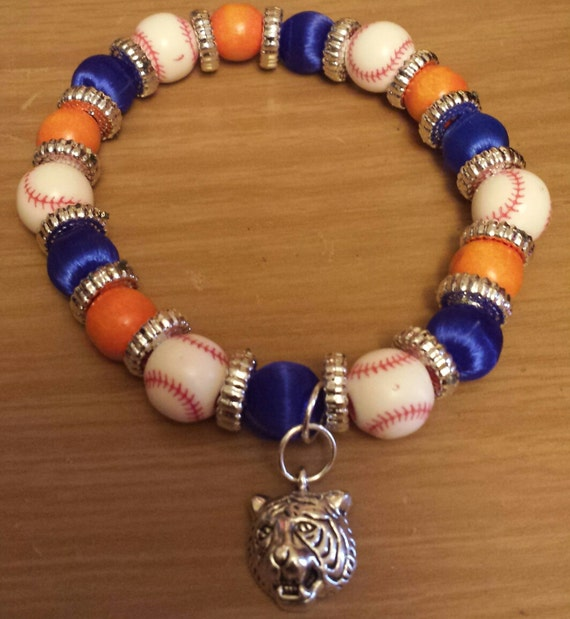 detroit tigers inspired bracelet by theaccessoriedoll on etsy