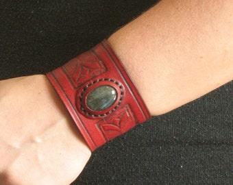 Vintage Victorian Gemstone Leather Cuff Bracelet